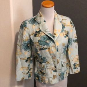 Emma James floral button down blazer 10P